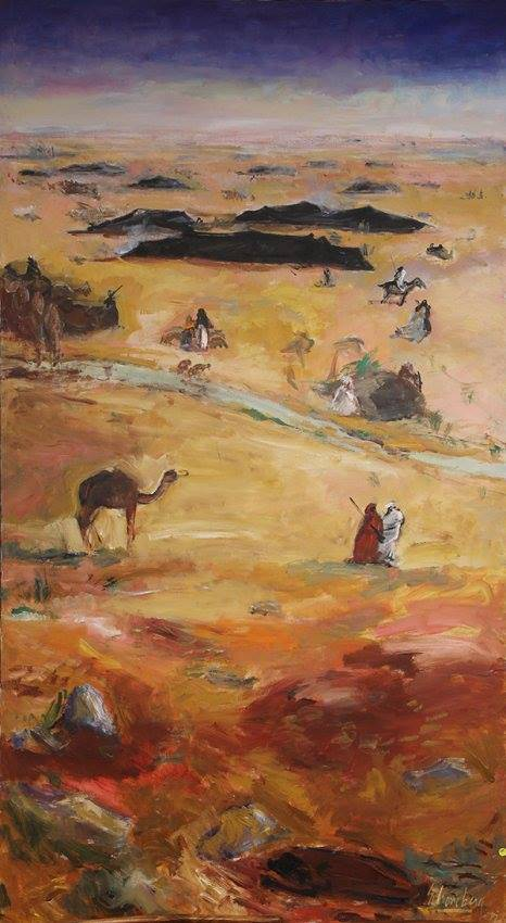 Sheldon C. Schoneberg (American, b. 1926), Desert Landscape with Figures and Camel, oil on canvas, signed lower right, canvas 87.5″h x 48.25″w inches Farhat Art Museum Collection.